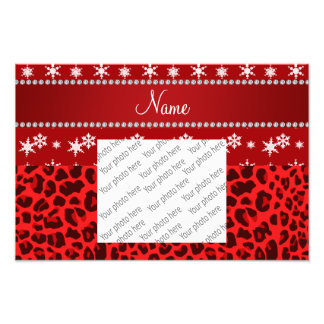 Custom name red leopard red snowflakes red stripe photograph