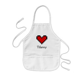 Custom name red pixel heart aprons for kids