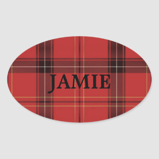 Custom Name Red Plaid/Tartan Holiday Stickers