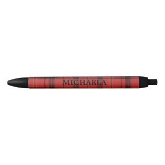 Custom Name Red Plaid/Tartan Pattern Holiday Pen