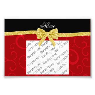 Custom name red swirls gold glitter bow photographic print