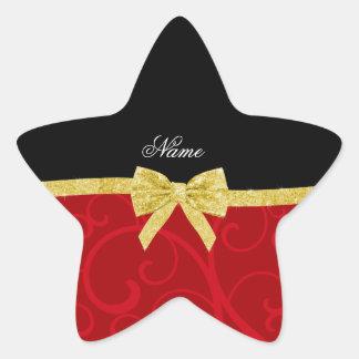 Custom name red swirls gold glitter bow star sticker
