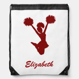 Custom Name Red White Cheerleader Cheer Drawstring Bag