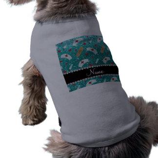 Custom name robin blue glitter nurse hats heart doggie t-shirt