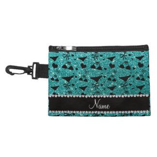Custom name robin egg blue glitter bikini bows accessory bags