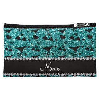 Custom name robin egg blue glitter bikini bows makeup bags