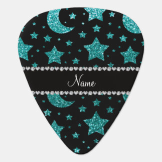 Custom name robin egg blue glitter stars and moons guitar pick