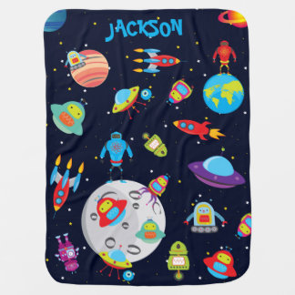 Custom Name Robots in Outer Space Baby Blanket