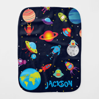Custom Name Robots in Outer Space Burp Cloths