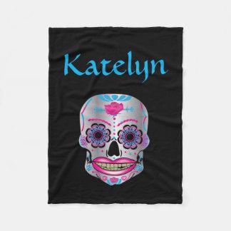 Custom Name Rose Candy Skull Fleece