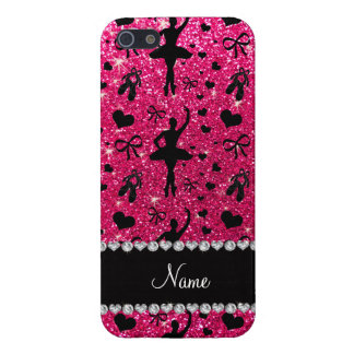 Custom name rose pink glitter ballerinas iPhone 5/5S cover