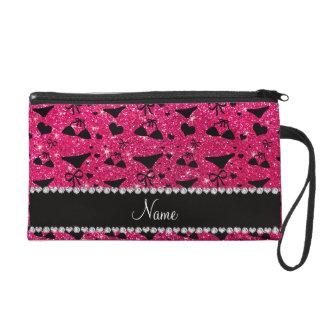 Custom name rose pink glitter bikini bows wristlet clutch