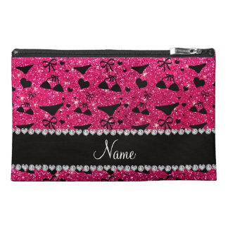 Custom name rose pink glitter bikini bows travel accessory bag