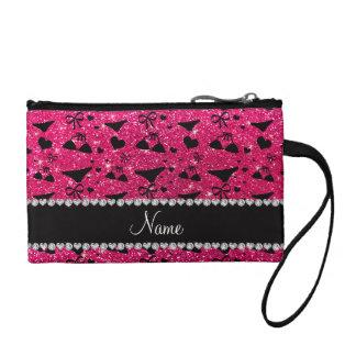 Custom name rose pink glitter bikini bows coin wallets