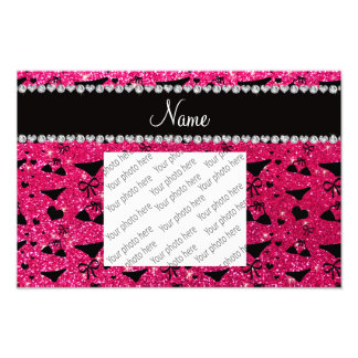 Custom name rose pink glitter bikini bows art photo