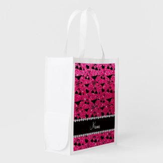 Custom name rose pink glitter bikini bows grocery bag