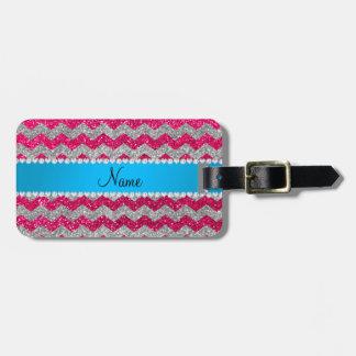 Custom name rose pink glitter chevrons blue stripe luggage tag