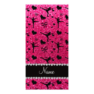 Custom name rose pink glitter figure skating picture card