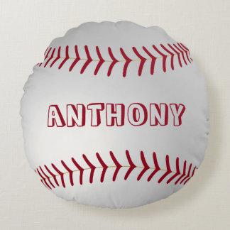 Custom Name Round Baseball Throw Pillow