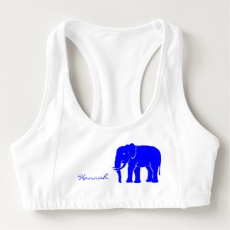 Custom Name Royal Blue Elephant Emblem on White Sports Bra