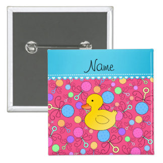 Custom name rubber duck pink baby rattles 2 inch square button