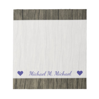 Custom Name + Rustic Faux Wood Look Pattern Notepad