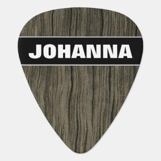 Custom Name + Rustic Wood Look Pattern Guitar Pick