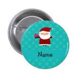 Custom name santa cupcake turquoise snowflakes 2 inch round button