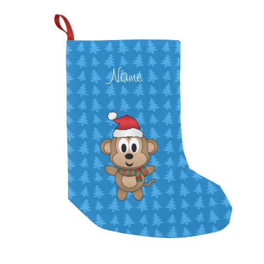 Custom name santa monkey blue trees small christmas stocking