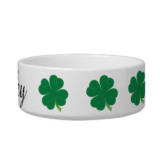 Custom Name Shamrock Pet Dish