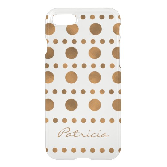 Custom Name Shiny Gold Dots iPhone 7 Case
