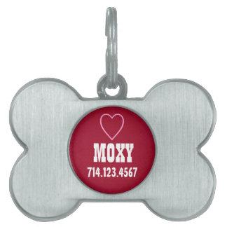 Custom Name Silver Bone Dog Tag RED Heart
