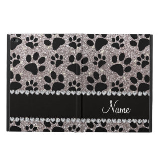Custom name silver glitter black dog paws powis iPad air 2 case