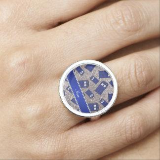 Custom name silver glitter police box ring