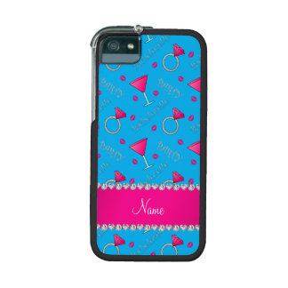 Custom name sky blue bachelorette cocktails rings iPhone 5/5S covers