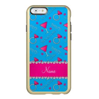 Custom name sky blue bachelorette cocktails rings incipio feather® shine iPhone 6 case