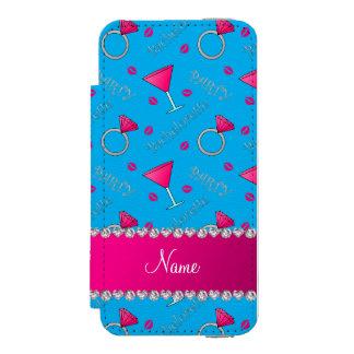 Custom name sky blue bachelorette cocktails rings incipio watson™ iPhone 5 wallet case