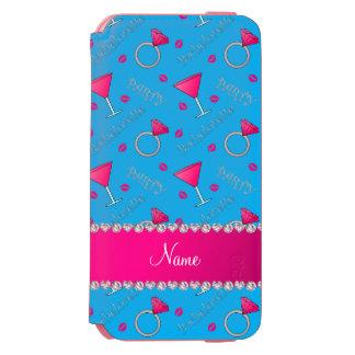 Custom name sky blue bachelorette cocktails rings incipio watson™ iPhone 6 wallet case
