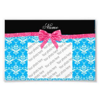 Custom name sky blue damask pink glitter bow photographic print