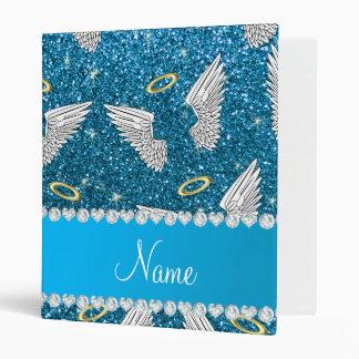 Custom name sky blue glitter angel wings binders