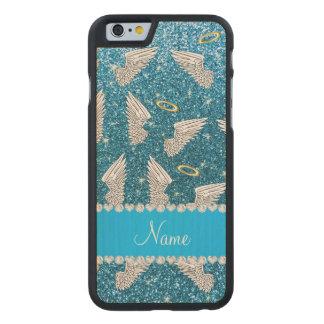 Custom name sky blue glitter angel wings carved® maple iPhone 6 slim case