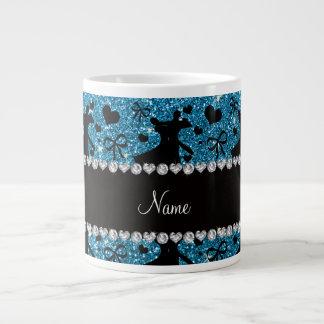 Custom name sky blue glitter ballroom dancing large coffee mug