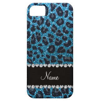 Custom name sky blue glitter leopard print iPhone 5 covers