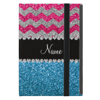 Custom name sky blue glitter pink glitter chevrons iPad mini case