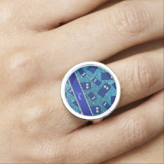 Custom name sky blue glitter police box ring