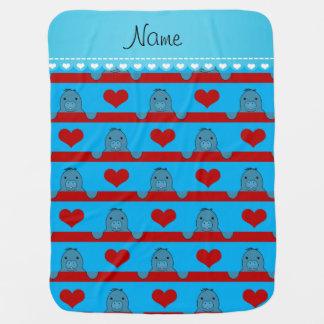 Custom name sky blue manatees red hearts stripes stroller blankets