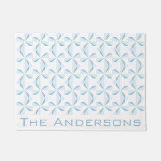 Custom Name Sky Blue Pinwheels Doormat