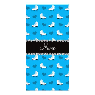 Custom name sky blue skates and hearts photo cards