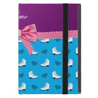 Custom name sky blue skates hearts pink bow case for iPad mini