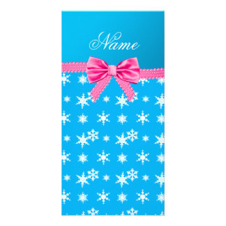 Custom name sky blue snowflakes pink bow photo card template